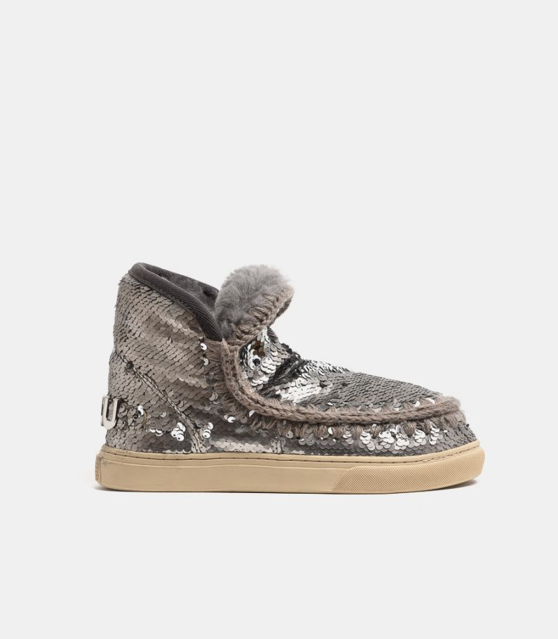 Women's shoe Eskimo sneaker with paillettes silver. MU.FW111008G