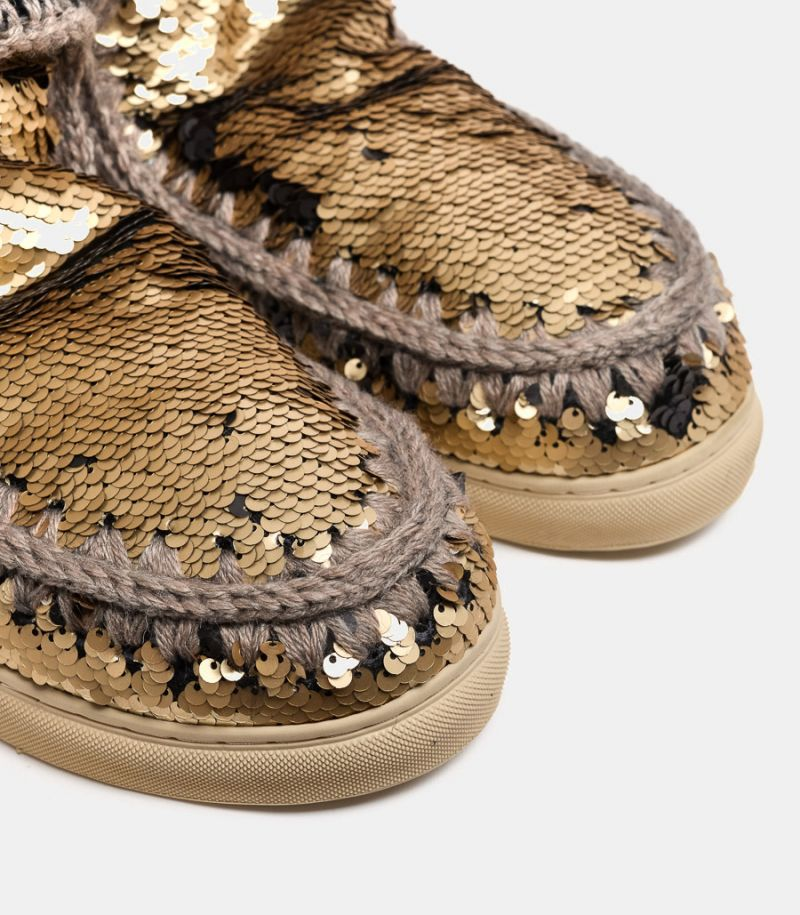 Women's shoe Eskimo sneaker with paillettes gold. MU.FW111008