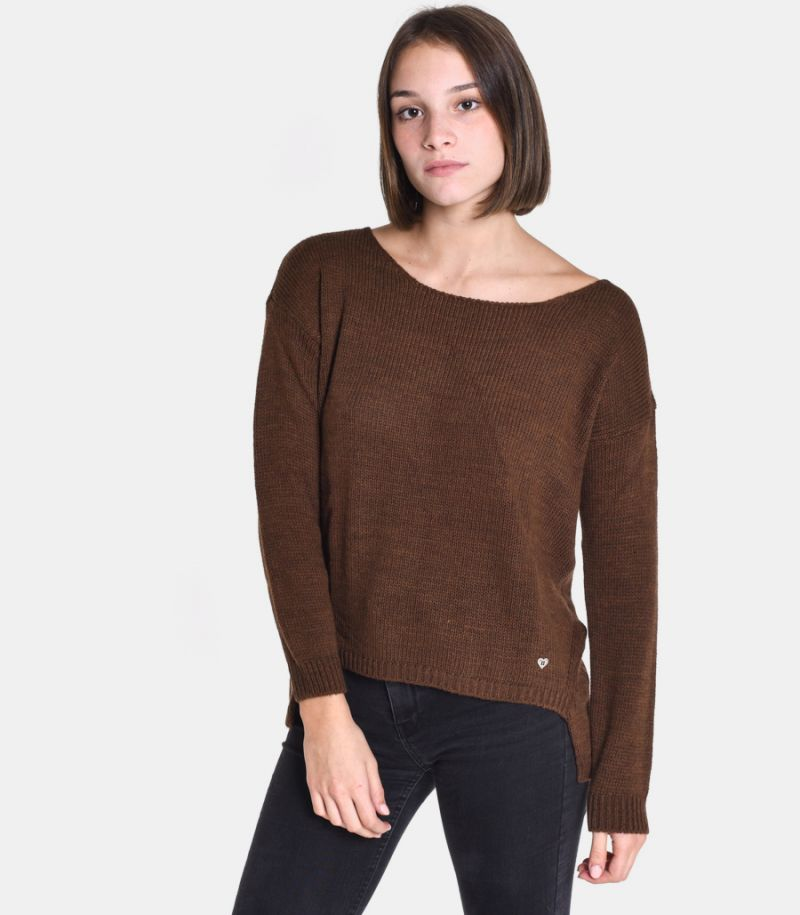 Women's boat neck sweater brown. M49775001