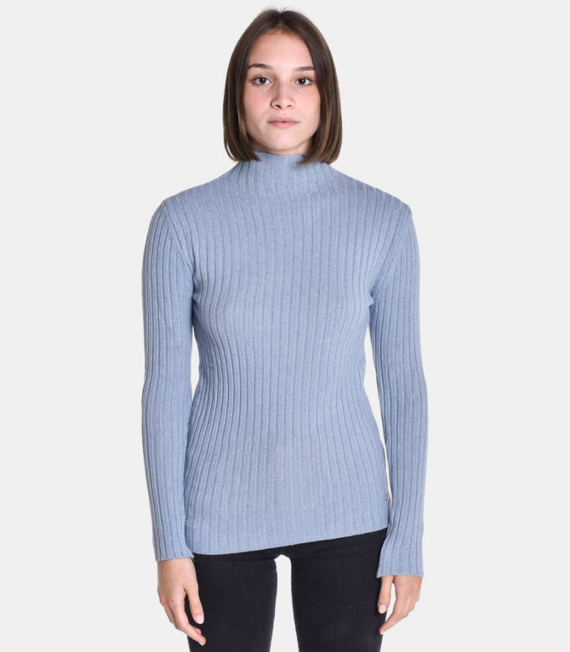 Women's turtleneck wide rib sky. M65035273