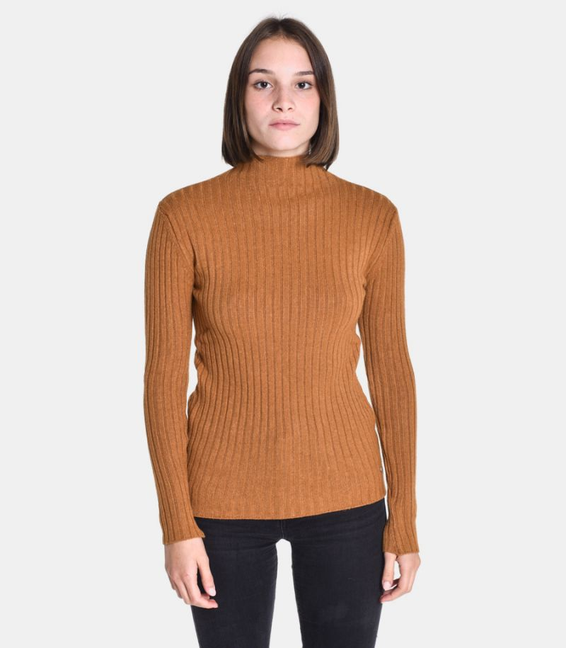 Women's turtleneck wide rib camel. M65035273