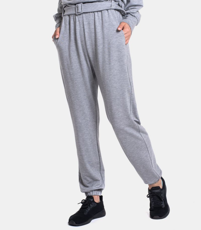 Women's soft trousers with belt grey. P1U3ACBC