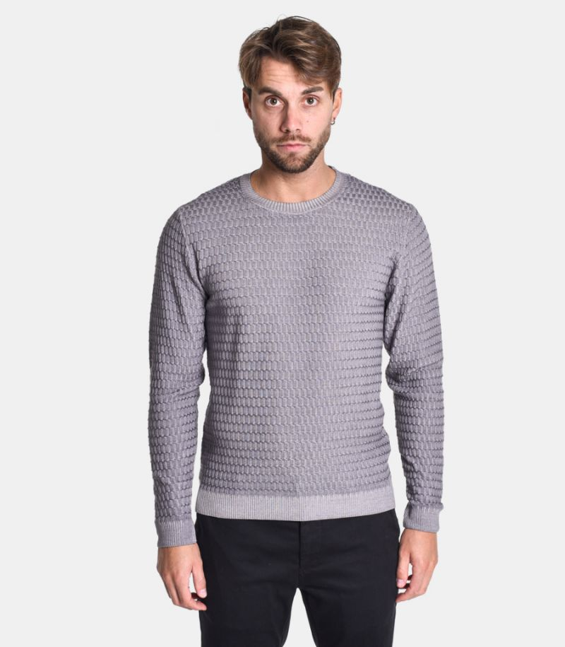 Men's honeycomb sweater grey. 0313F