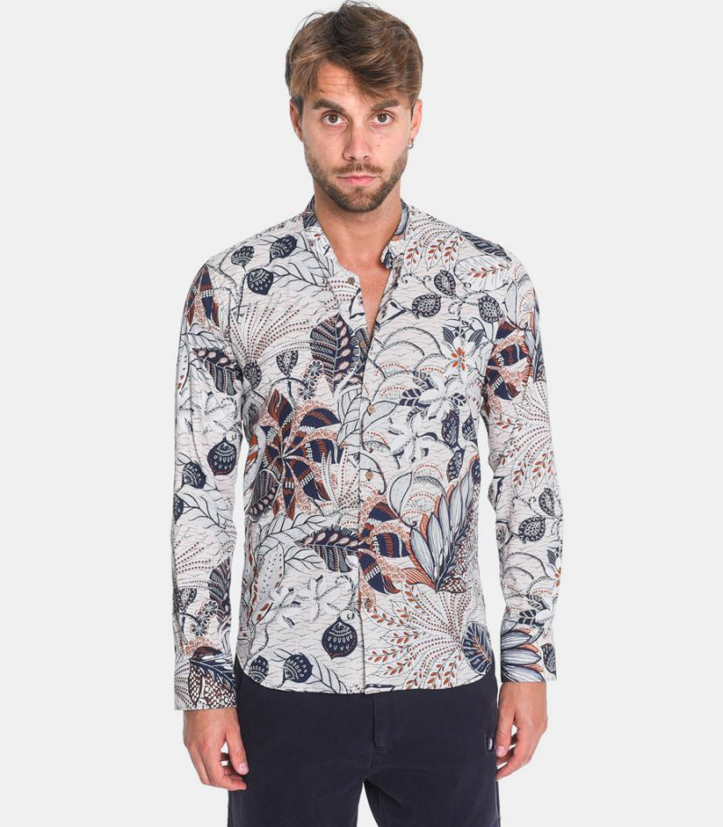 Men's fancy floral korean shirt white. COMO40702