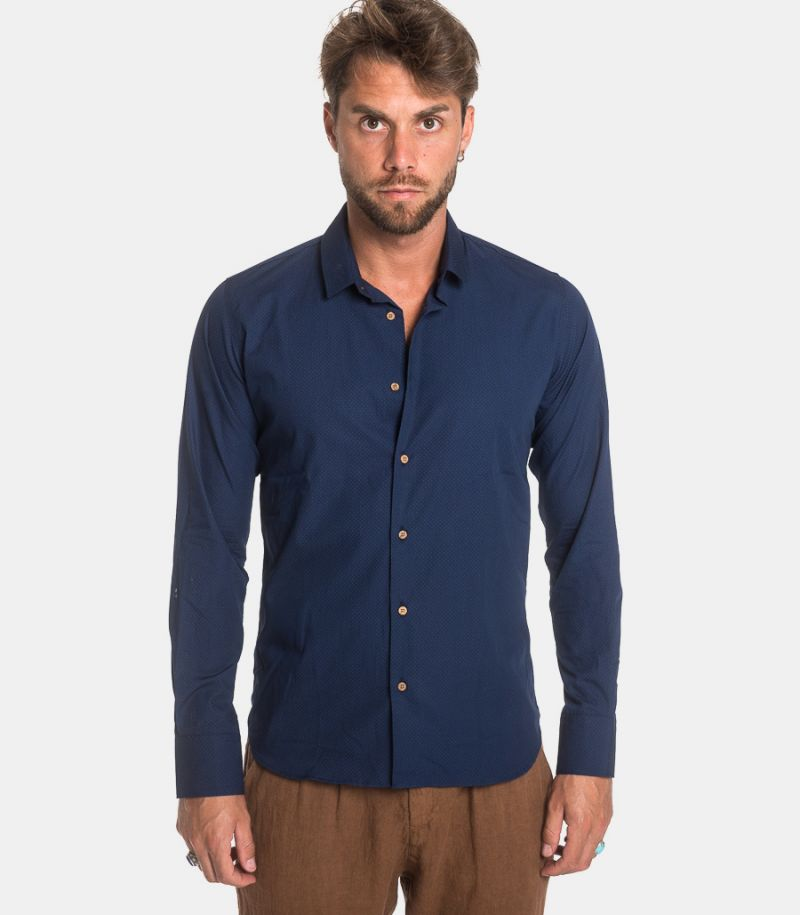 Men's micropatterns pois shirt blue. COMO 3225