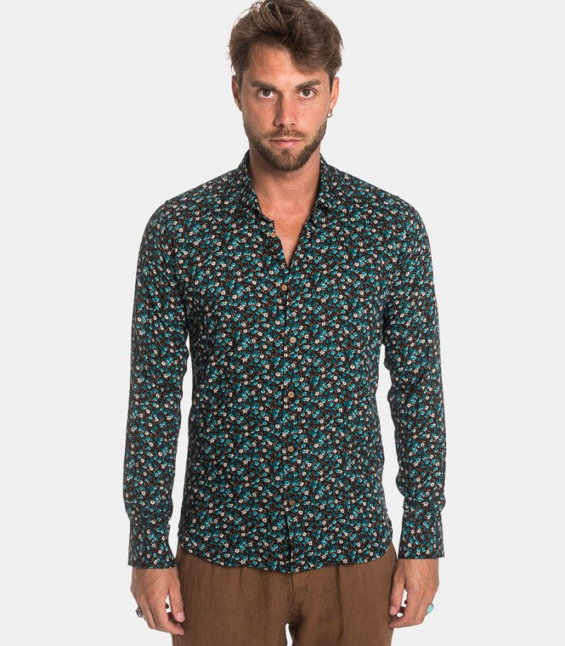 Men's basic fancy floral shirt black green. GIAVA 21836