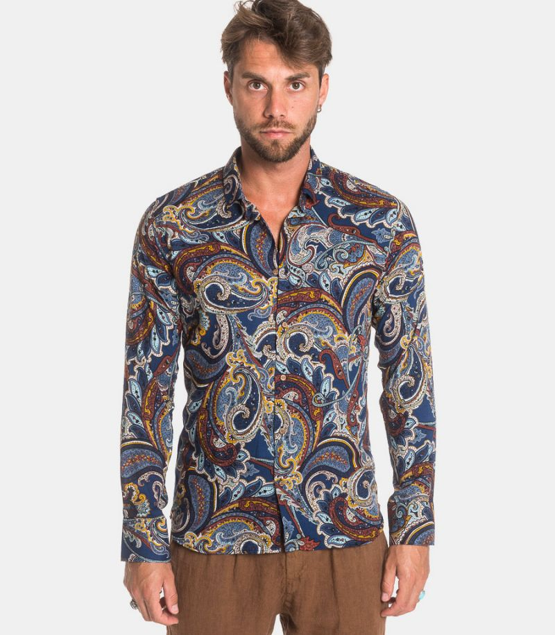 Men's fancy floral giava shirt red. GIAVA 40643
