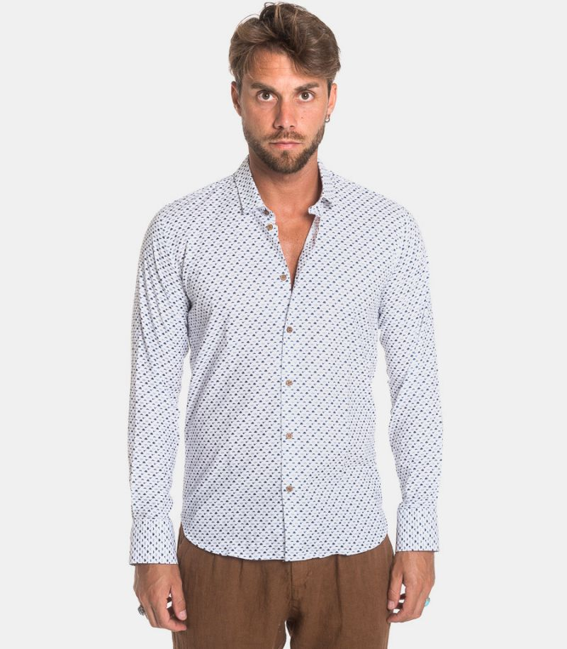 Men's micropattern shirt white blue. GLORIA 16789