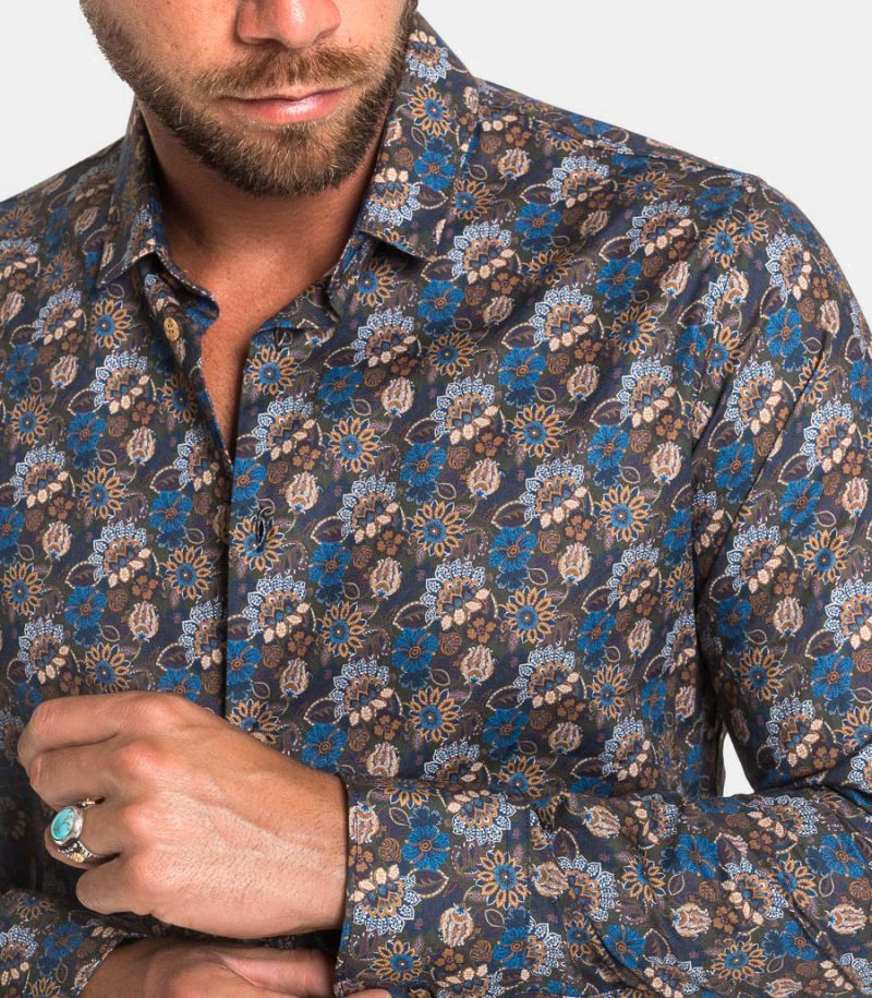 Men's fancy floral shirt green. GLORIA 30318