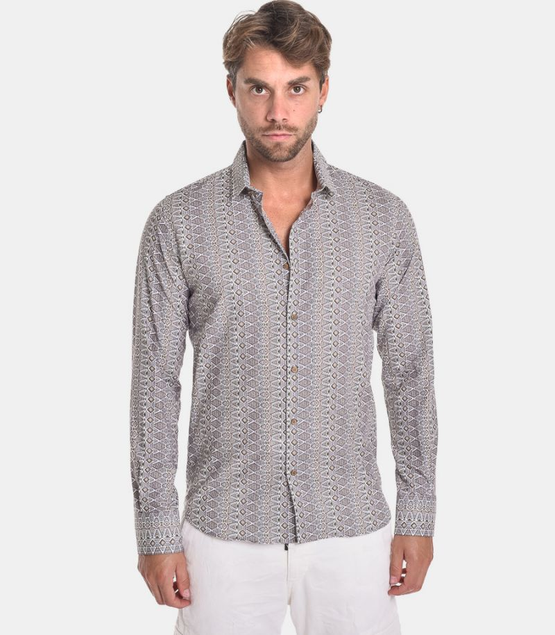 Men's fancy shirt beige. GLORIA 30336