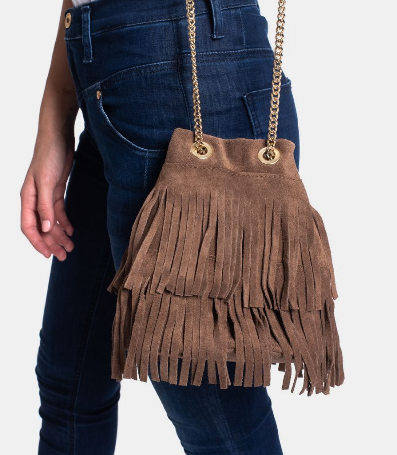 Women's bag with fringes mud. P500
