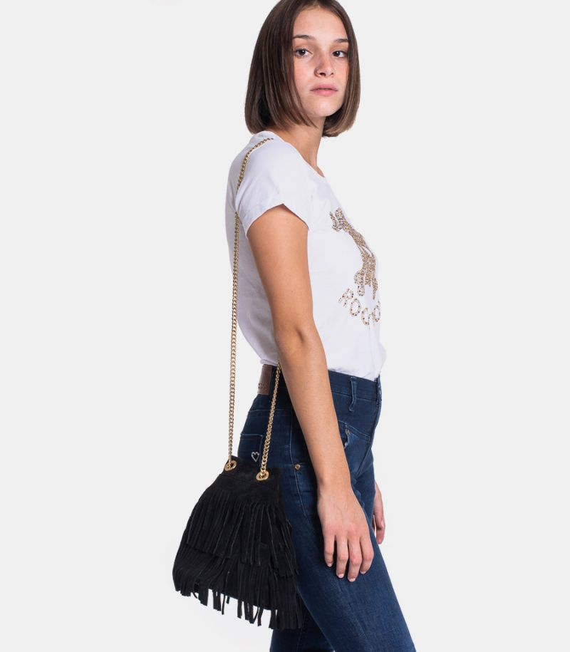 Women's bag with fringes black. P500