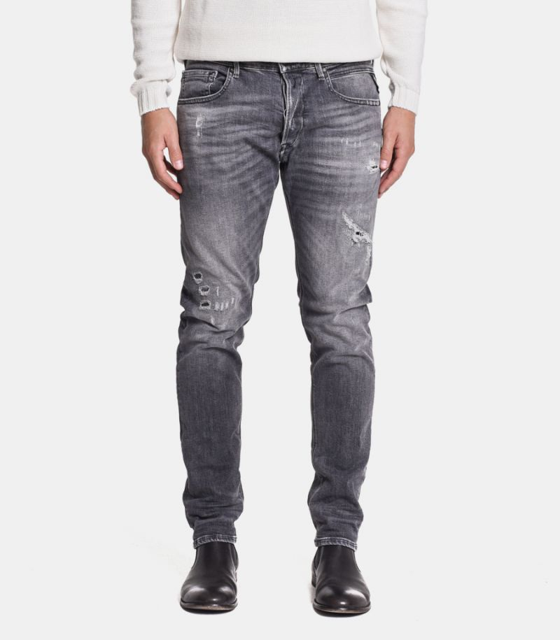 Men's ripped and emboidery jeans grey. M1008.030.199705.096