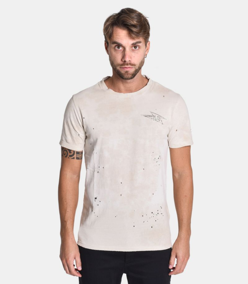 Men's Velvet Chain t-shirt beige. M3175