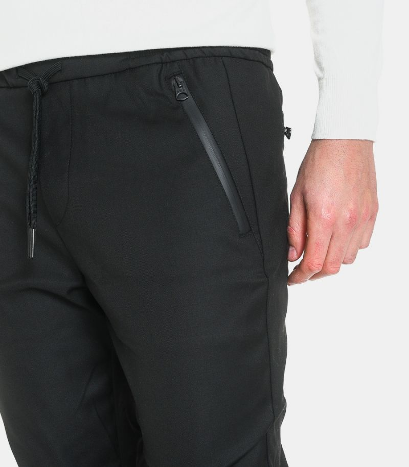 Men's trousers with lace echo leather pockets black. M9586