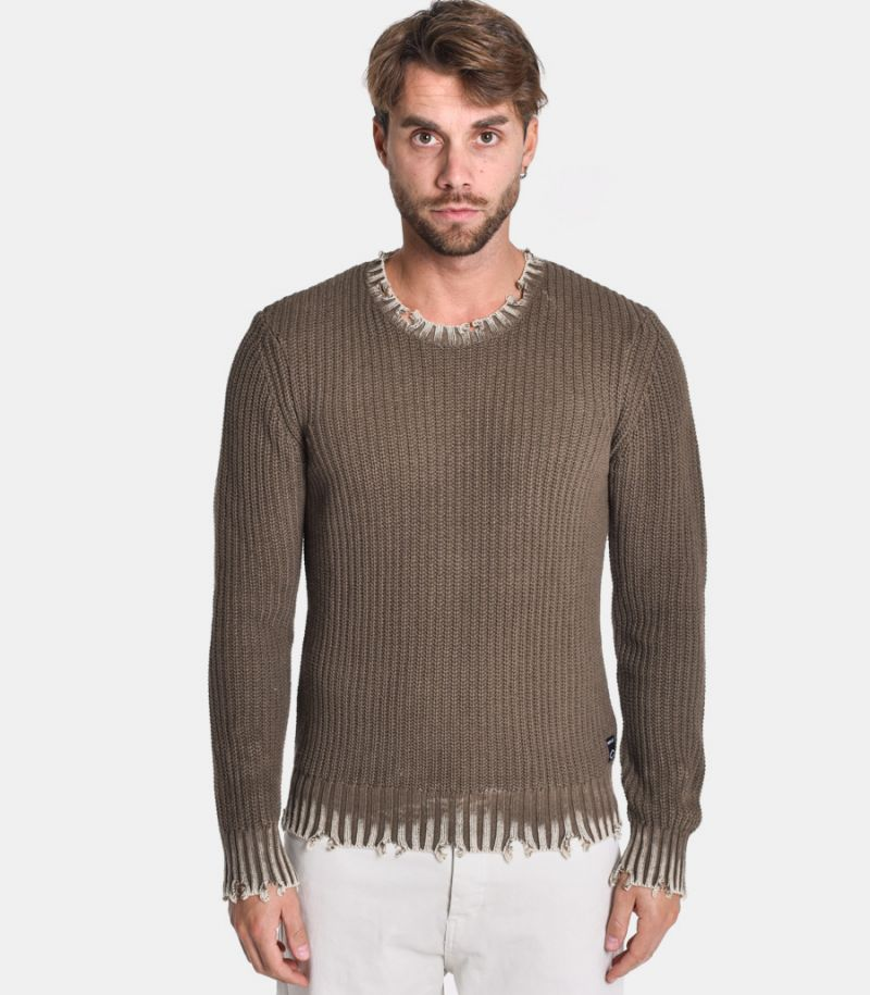 Men's roundneck knitted sweater mud. UK8008.000.G22454S3569