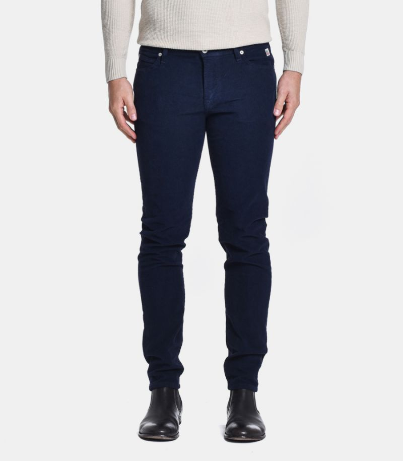 Men's velvet chinos trousers blue, A20RRU089P1310112