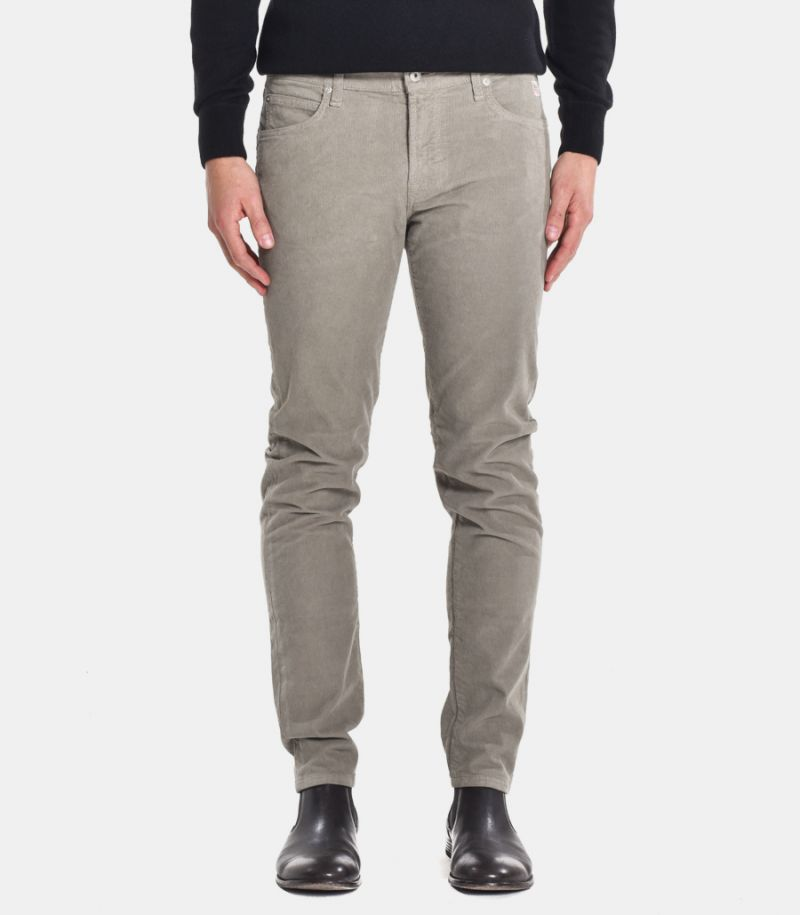 Men's velvet chinos trousers grey. A20RRU089P1310112