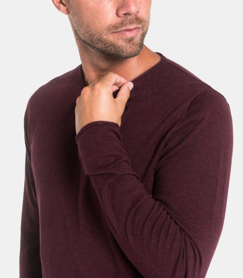 Men's basic raw cut sweatshirt bordeaux. 16047649