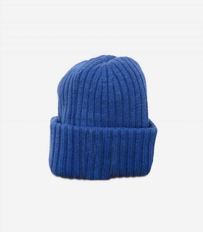 Men's wool hat flounce with minilogo blue. 16064168