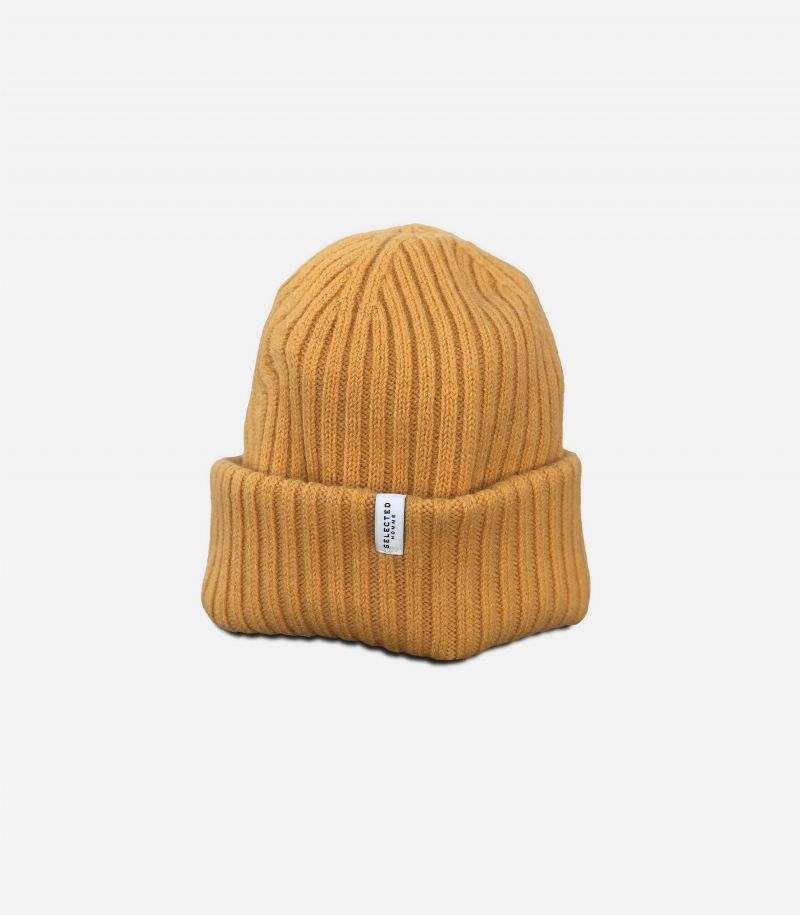 Men's wool hat with flounce minilogo mustard. 16064168