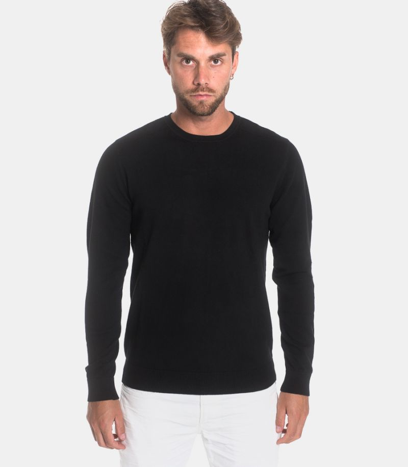Men's roundneck sweater black. 16074682