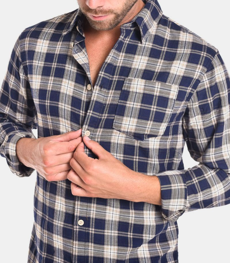 Men's cheched pattern shirt blue grey. 16075038