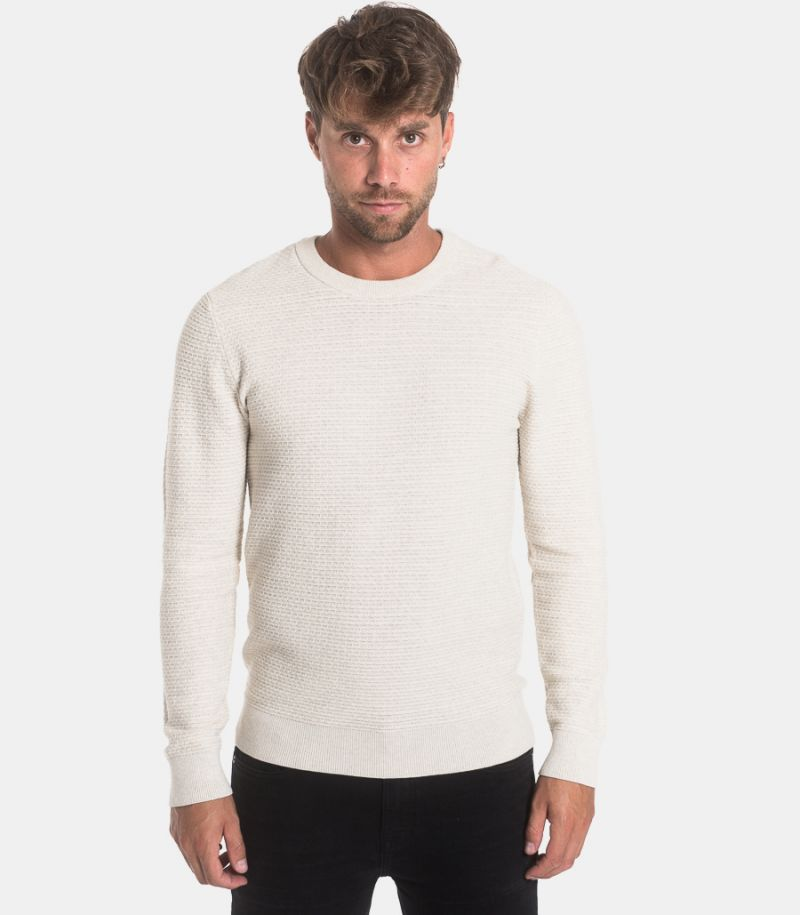 Men's worked sweater beige. 16075340