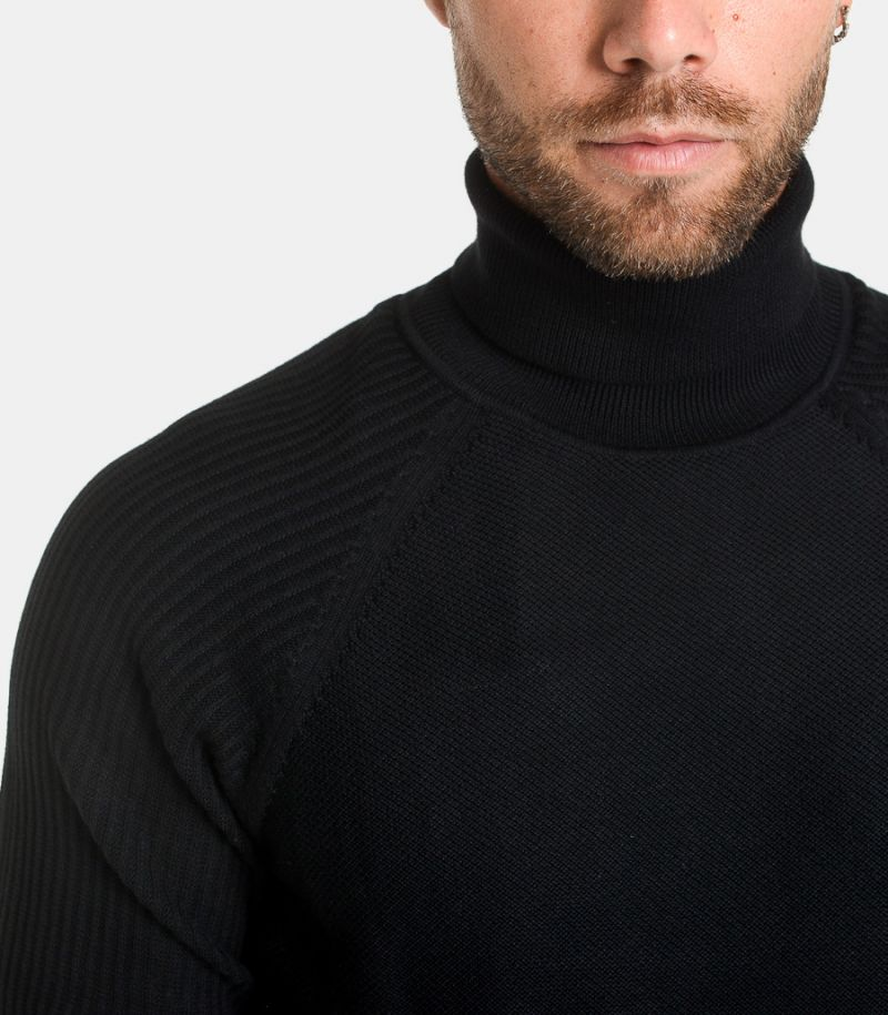 Men's turtleneck ribs shoulders black. 16075347