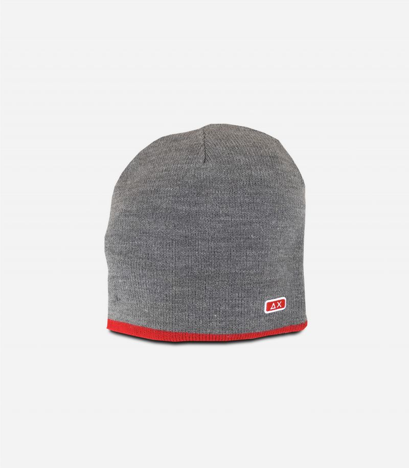 Men's beanie wool hat with logo grey red. C40101