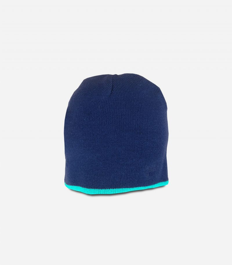 Men's beanie wool hat with logo navy blue. C40101
