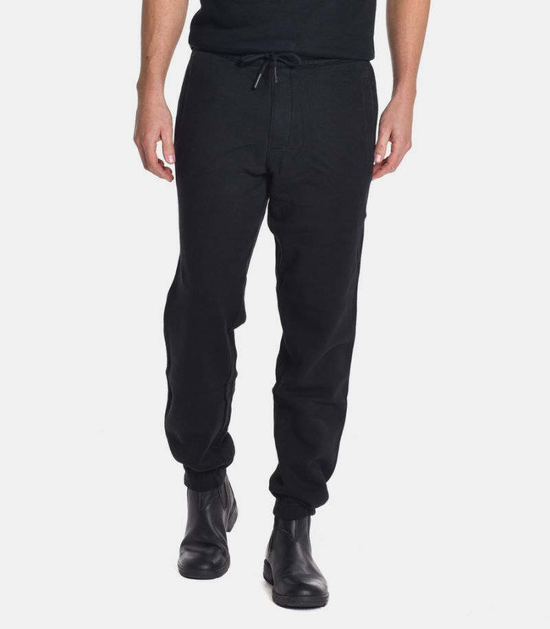 Men's fleece trousers with logo black. F40101