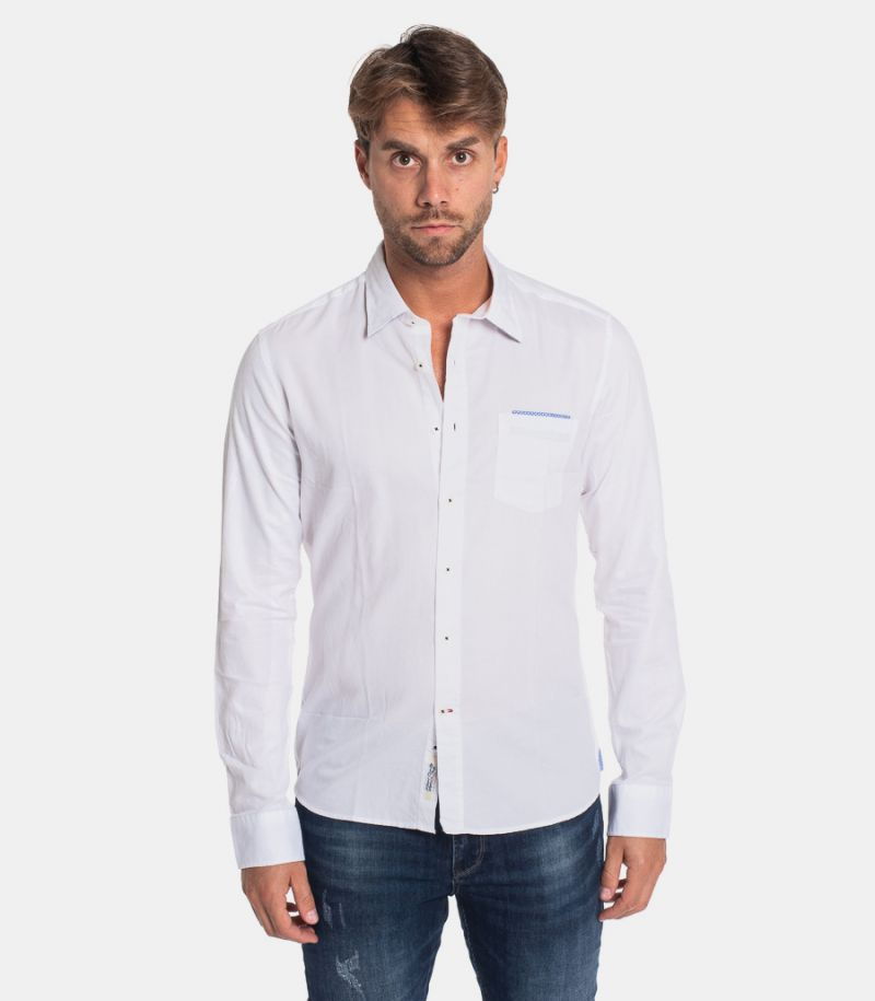 Men's pocket and elbow patches shirt white. SW220078