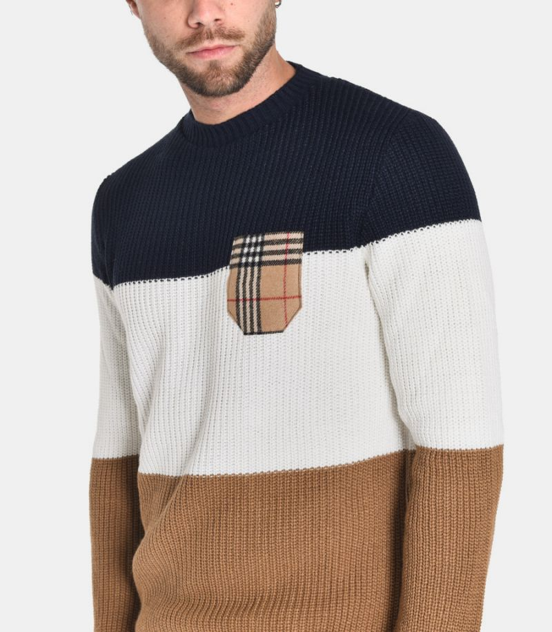 Men's tricolor sweater with pochette beige. MARIGTBLCA