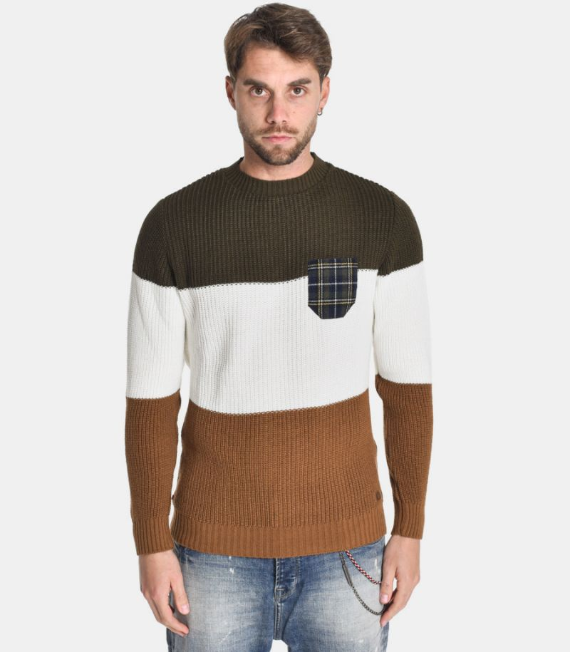 Men's tricolor sweater with pocket blue. MARIGTCOMIL