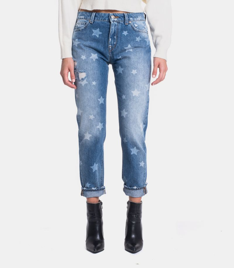 Men's jeans with stars and tears blue. DW0011