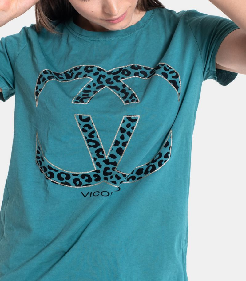 Women's spotted logo t-shirt green. RW0087