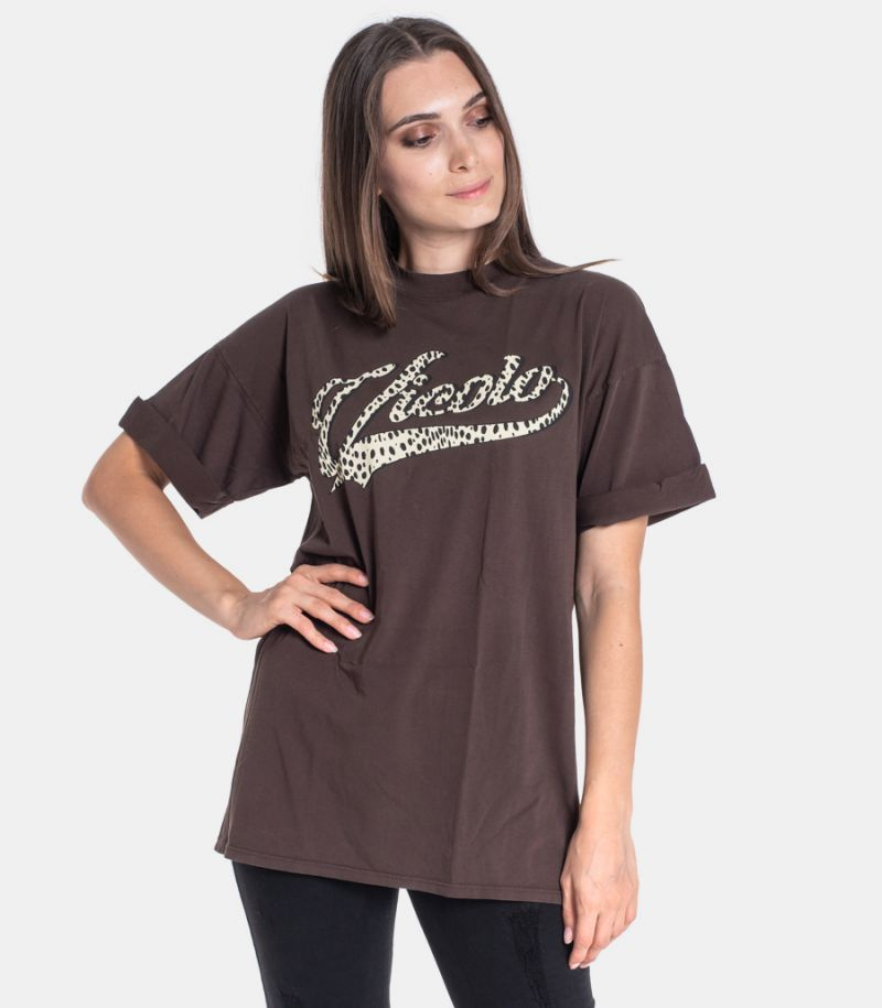 Women's t-shirt leopard logo brown. RW0124