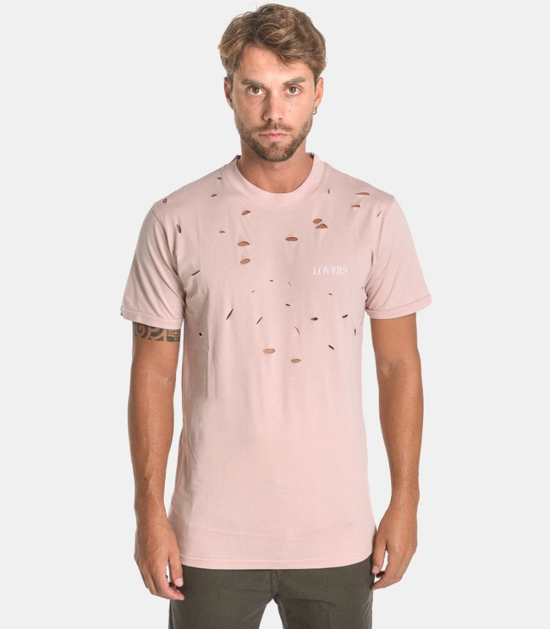 Men's t-shirt with tears pink. TEE71