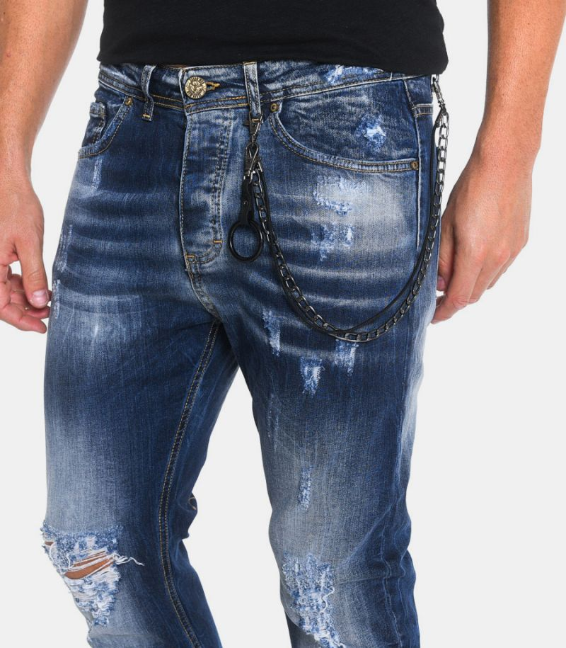 Men's selvedge jeans with chain blue. 2UMORR1