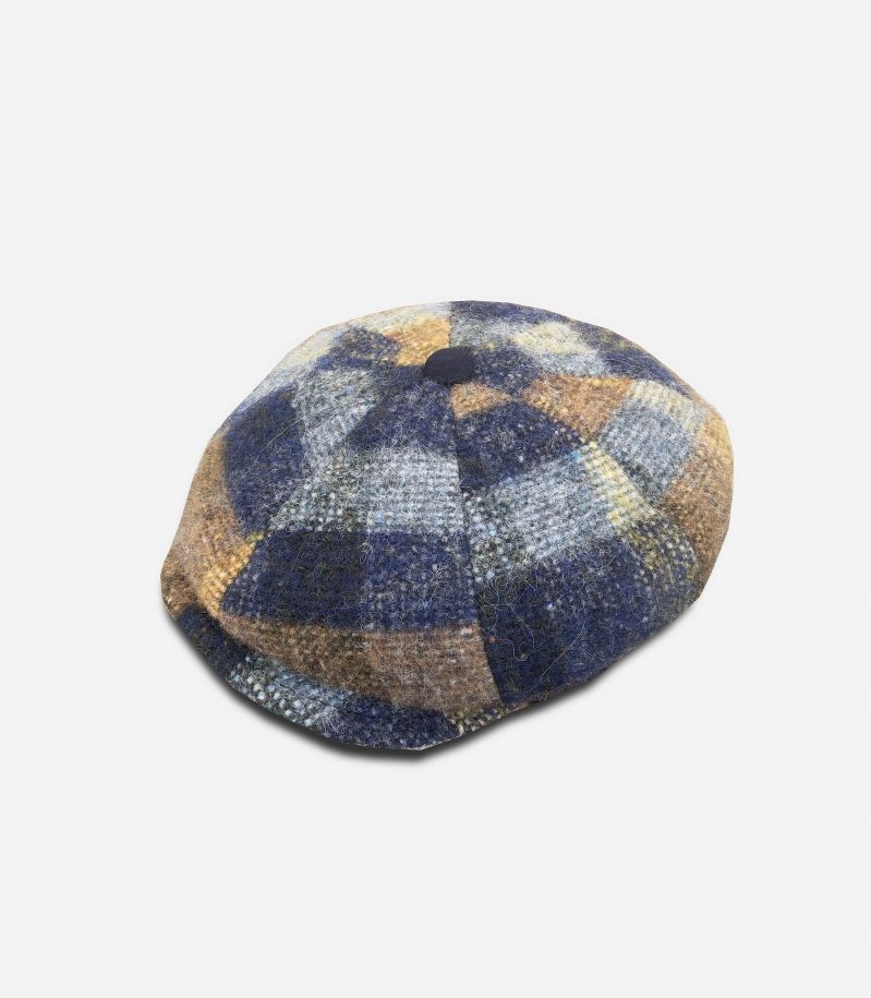 Men's scottish pattern cap blue camel. MILANO TESS. A