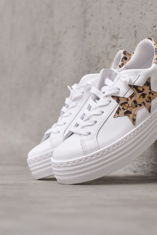 Women's sneaker shoes spotted raised sole. 2SD3235088MACULATO ROSA/ORO