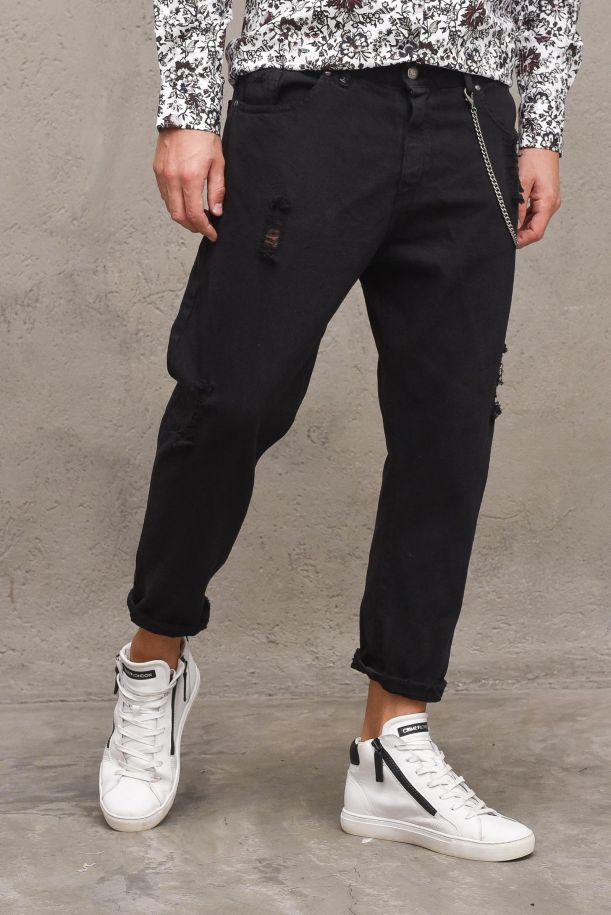 Men's denim pants with chain and tears. M 215033-1NERO