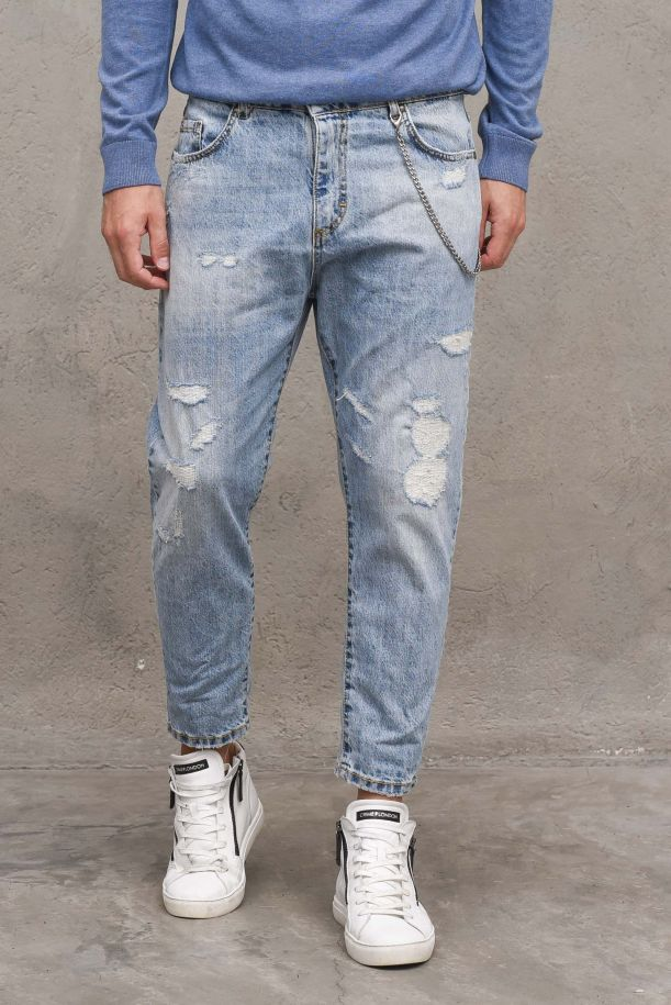 Men's jeans pants with chain and tears light blue. M 21503430DENIM CHIARO