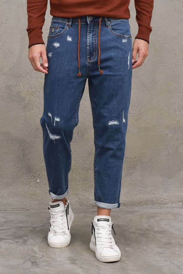 Men's jeans pants with lace and tears blue mid. 02DRY30JEANS MEDIO