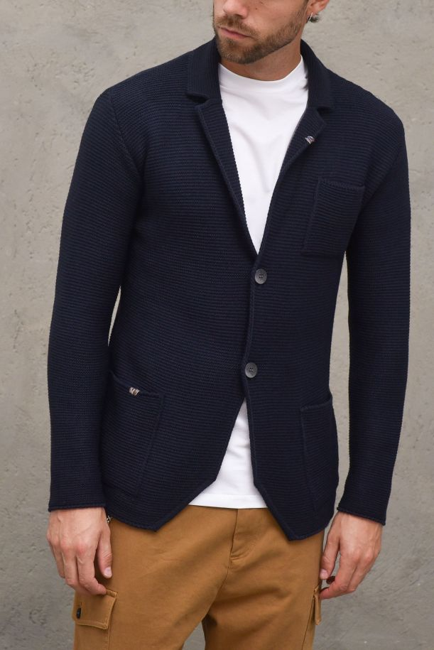 Men's knitted jacket embroidered. 03A20LBLU