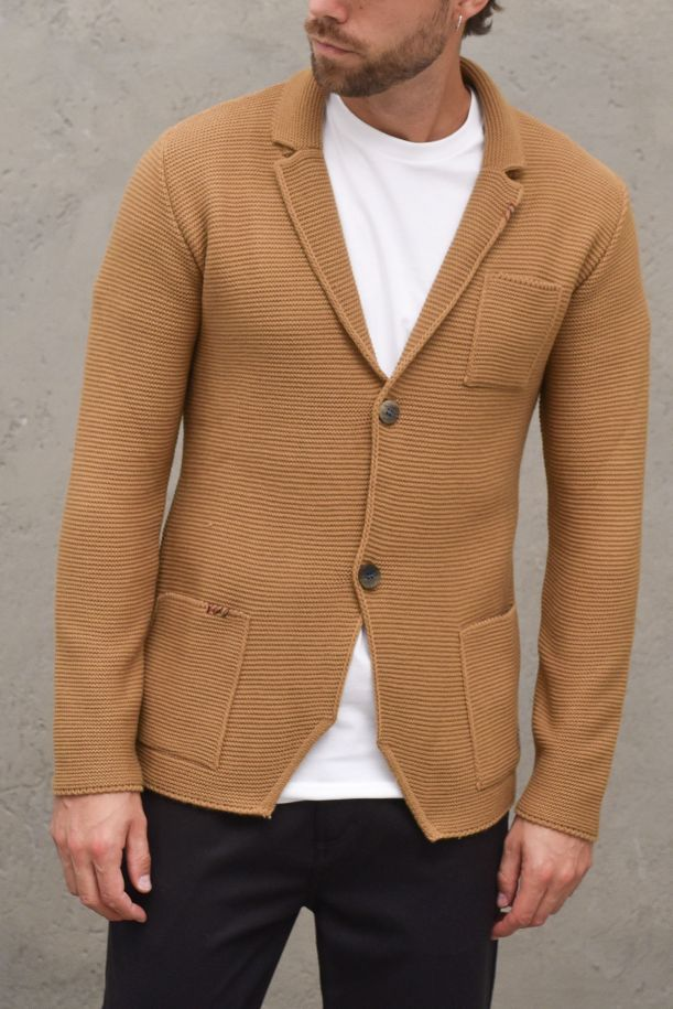 Men's knitted jacket embroidered. 03A20LCAMMELLO