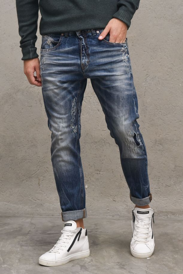 Men's selvedge jeans pants with tears. 08BURPEES30JEANS CHIARO
