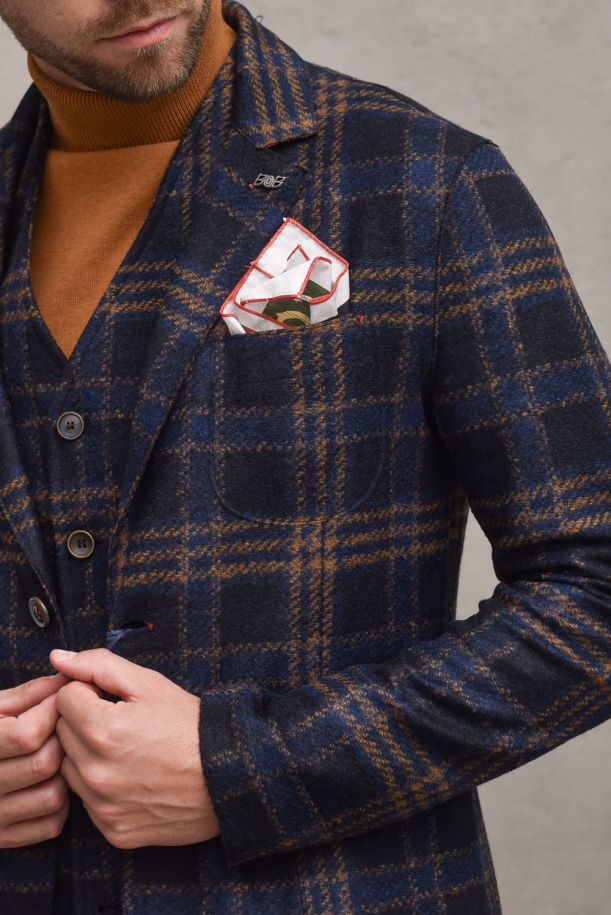Men's knitted jacket checked. POLE527BLU