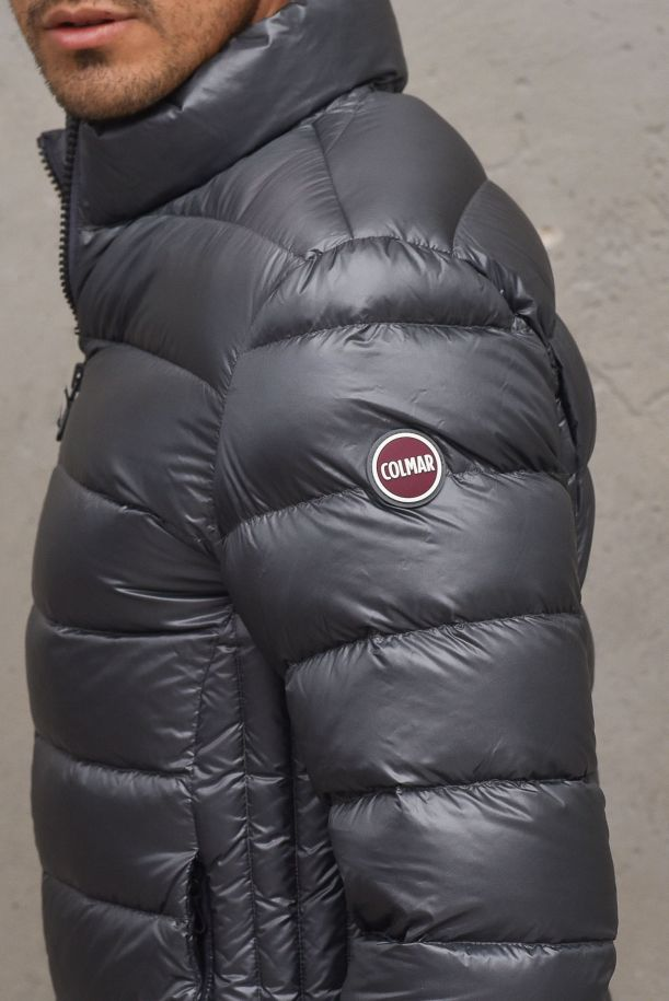 Men's padded quilted downjacket with logo grey. 1236338